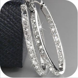 Just In! Silver Crystal Gemstone Hoop Earrings
